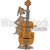 Clipart of a Cartoon Dog Musician Playing a Bass Fiddle - Royalty Free Vector Illustration © djart #1448480