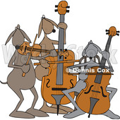 Clipart Graphic of a Cartoon String Trio Dog Orchestra Playing a Cello, Violin and Bass - Royalty Free Vector Illustration © djart #1450256