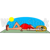 Clipart Graphic of a Cartoon Happy White Woman Sun Bathing on a Beach Towel - Royalty Free Vector Illustration © Dennis Cox #1451406