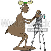 Clipart Graphic of a Cartoon Moose Photographer Wearing Sunglasses and Taking Pictures with a Camera on a Tripod - Royalty Free Vector Illustration © Dennis Cox #1451453