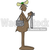 Clipart Graphic of a Cartoon Moose Photographer Wearing Sunglasses and Taking Pictures with a Camera - Royalty Free Vector Illustration © Dennis Cox #1451454