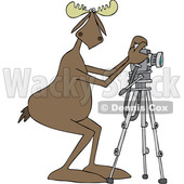 Clipart Graphic of a Cartoon Moose Photographer Taking Pictures with a Camera on a Tripod - Royalty Free Vector Illustration © djart #1451456