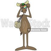 Clipart Graphic of a Cartoon Moose Photographer Wearing Sunglasses, Facing Front and Taking Pictures with a Camera - Royalty Free Vector Illustration © Dennis Cox #1451457
