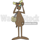 Clipart Graphic of a Cartoon Moose Photographer Facing Front and Taking Pictures with a Camera - Royalty Free Vector Illustration © djart #1451458