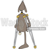 Clipart Graphic of a Cartoon Three Legged Dog Using Crutches - Royalty Free Vector Illustration © Dennis Cox #1451481