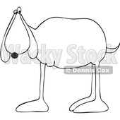 Clipart Graphic of a Cartoon Black and White Lineart 3 Legged Dog - Royalty Free Vector Illustration © Dennis Cox #1451484