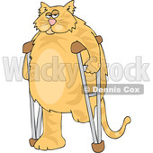 Clipart of a Cartoon Chubby 3 Legged Ginger Cat Using Crutches - Royalty Free Vector Illustration © djart #1452483