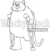 Clipart of a Cartoon Black and White Lineart Chubby 3 Legged Cat Using Crutches - Royalty Free Vector Illustration © djart #1452484