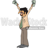 Clipart of a Cartoon Hispanic Business Man Holding up Cash Money - Royalty Free Vector Illustration © djart #1454118