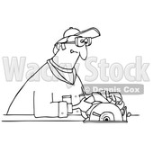 Clipart Graphic of a Cartoon Black and White Lineart Man Using a Circular Saw - Royalty Free Vector Illustration © djart #1454435