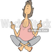 Clipart Graphic of a Cartoon White Woman in the Lotus Meditation Pose, Holding up Two Middle Fingers - Royalty Free Vector Illustration © Dennis Cox #1454436