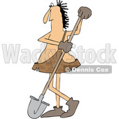 Clipart Graphic of a Cartoon Caveman Worker Leaning on a Shovel - Royalty Free Vector Illustration © Dennis Cox #1454527