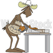Clipart Graphic of a Cartoon Moose Carpenter Using a Saw - Royalty Free Vector Illustration © djart #1454529