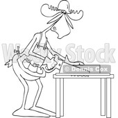 Clipart Graphic of a Cartoon Black and White Lineart Moose Carpenter Using a Saw - Royalty Free Vector Illustration © Dennis Cox #1454532