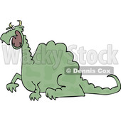 Clipart of a Cartoon Angry Green Dragon - Royalty Free Vector Illustration © djart #1455249