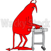 Clipart of a Cartoon Old Devil Using a Walker - Royalty Free Vector Illustration © djart #1455433