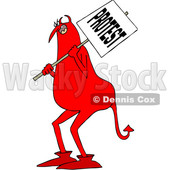Clipart of a Cartoon Chubby Red Devil Protestor Holding a Sign - Royalty Free Vector Illustration © djart #1455533