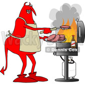 Clipart of a Cartoon Chubby Red Devil Grilling Aon a Bbq - Royalty Free Vector Illustration © Dennis Cox #1455536