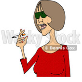 Clipart of a Cartoon Middle Aged Woman in a Red Shirt, Smoking a Cigarette - Royalty Free Vector Illustration © djart #1455653