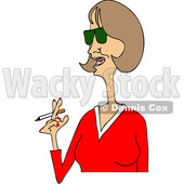Clipart of a Cartoon Middle Aged Woman in a Red V Neck Shirt, Smoking a Cigarette - Royalty Free Vector Illustration © Dennis Cox #1455655