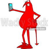 Clipart of a Cartoon Red Devil Taking a Selfie with a Cell Phone - Royalty Free Vector Illustration © djart #1457034