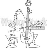 Clipart of a Black and White Chubby Devil Playing a Cello - Royalty Free Vector Illustration © djart #1457288