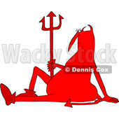Clipart of a Chubby Red Devil Sitting on the Ground with a Pitchfork - Royalty Free Vector Illustration © djart #1457289