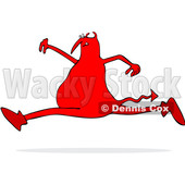 Clipart of a Chubby Red Devil Leaping - Royalty Free Vector Illustration © djart #1457291