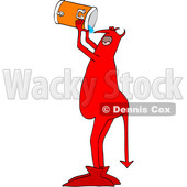Clipart of a Chubby Red Devil Chugging Water from a Beverage Cooler - Royalty Free Vector Illustration © djart #1457635