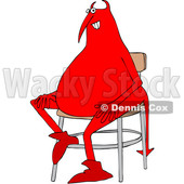 Clipart of a Chubby Red Devil Sitting in a Chair - Royalty Free Vector Illustration © djart #1458149