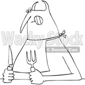 Clipart of a Chubby Hungry Devil Wearing a Big and Holding Cutlery - Royalty Free Vector Illustration © djart #1458157