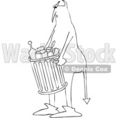 Clipart of a Chubby Devil Carrying a Trash Can - Royalty Free Vector Illustration © djart #1458158