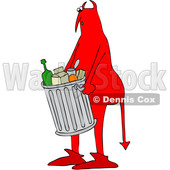 Clipart of a Chubby Red Devil Carrying a Trash Can - Royalty Free Vector Illustration © djart #1458163