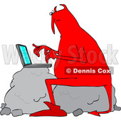 Clipart of a Chubby Red Devil Sitting on a Boulder and Using a Laptop Computer - Royalty Free Vector Illustration © djart #1458165