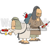 Clipart of Suspsicious Men Lighting Dynamite - Royalty Free Vector Illustration © djart #1458166