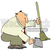 Chubby And Balding Businessman In A Tan Suit, Crouching And Using A Broom To Sweep Up Dirt In A Dustpan Clipart Illustration © djart #14588