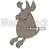 Hot Dog Plugging His Nose, Hanging His Tongue Out And Throwing His Arm Up In The Air While Diving Into Water Clipart Illustration © Dennis Cox #14589