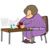 Tired Woman In Purple Pajamas And Slippers, Sitting At A Table And Drinking Coffee While Zoning Out In The Morning Clipart Illustration © djart #14591