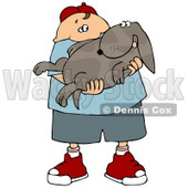 Chubby Caucasian Boy Holding His Happy Dog In His Arms Clipart Illustration © Dennis Cox #14592