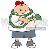 Brave Boy Holding a Long Green Snake That is Coiled Around His Shoulders Clipart Illustration © djart #14593