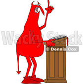 Clipart of a Chubby Red Devil Preaching at the Pulpit - Royalty Free Vector Illustration © djart #1459387