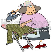 Woman Ironing A Shirt On An Ironing Table While Watching TV Clipart Illustration © djart #14594