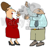 Businessman Lifting His Arms To Shield His Face From A Rude Woman's Secondhand Smoke Who Is Smoking A Cigarette And Blowing It In His Face Clipart Illustration © djart #14596