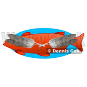 Four Feathers Over an Orange Fish Clipart Illustration © Dennis Cox #14597