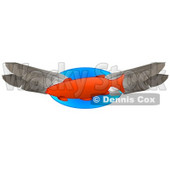 Orange Fish Swimming With Feathers Clipart Illustration © Dennis Cox #14598