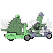 Green Dinosaur Wearing A Vest And Helmet And Riding A Scooter, Looking Back Over His Shoulder While Passing Another Scooter Riding Dino Clipart Illustration © Dennis Cox #14599