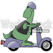 Cool Green Dinosaur Wearing A Vest And Helmet, Looking Back Over His Shoulder While Riding A Grey Scooter Clipart Illustration © Dennis Cox #14600