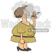 Woman In A Yellow Dress, Standing Outside In A Cloud And Smoking A Cigarette On Her Break Clipart Illustration © djart #14601