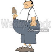 Clipart of a Cartoon Fat Man Eating Ice Cream - Royalty Free Vector Illustration © djart #1460158