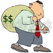 Greedy Businessman Carrying A Heavy Sack Of Money On His Back Clipart Illustration © Dennis Cox #14603